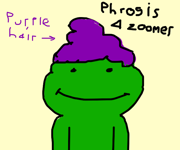 """purple haired """"phrog"""" is a zoomer"""