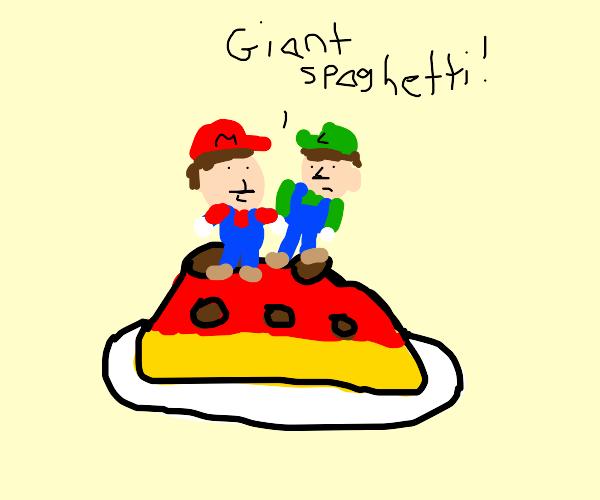 Mario & Luigi on top of giant spaghetti