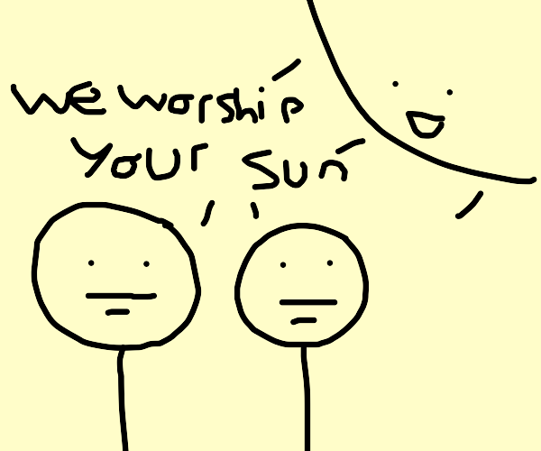Two poker face guys worship the happy sun