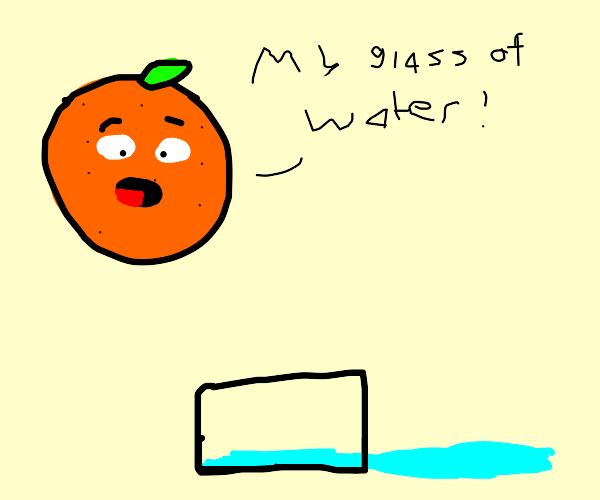 An orange accidentally spills  glass of water