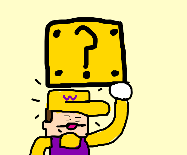 wario tries to hit a '?' block with his head