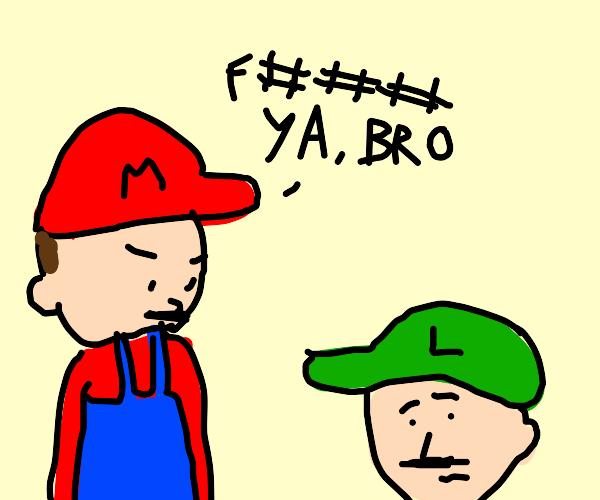 Mario curses at Luigi