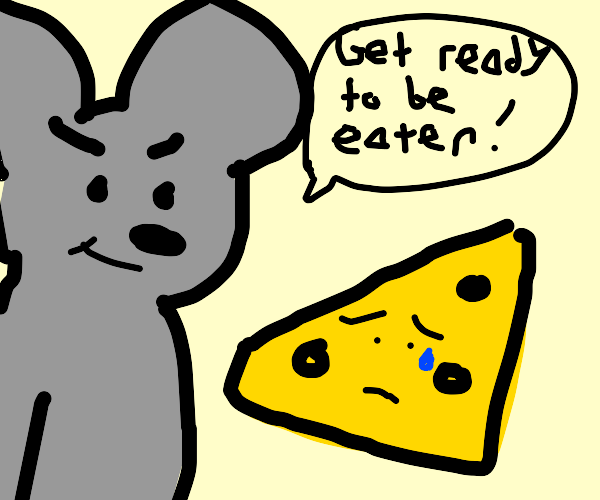 Mouse About to Eat Cheese