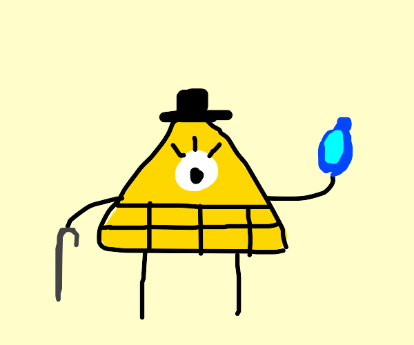 bill cipher with cane + blue fire on hand