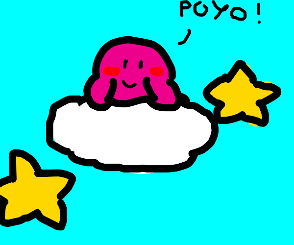 kirby on a cloud with the stars saying 'poyo!