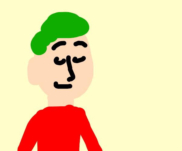 smug boi with green hair