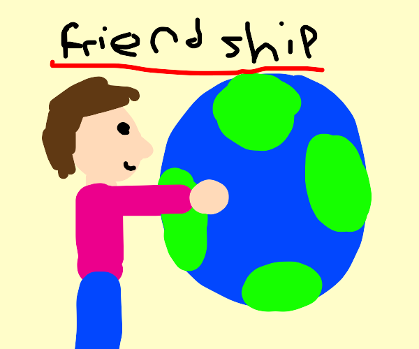 Girl and earth are friends
