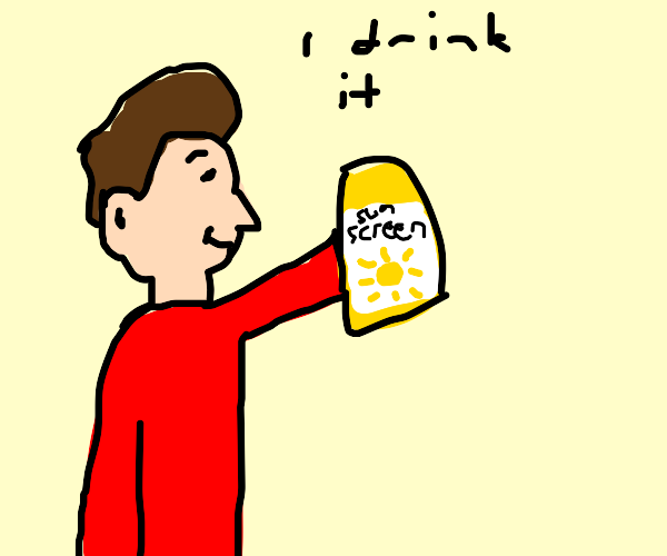 Man with red shirt drinking sunscreen