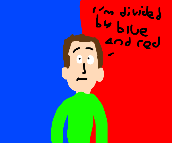 Man Divided by Blue and Red