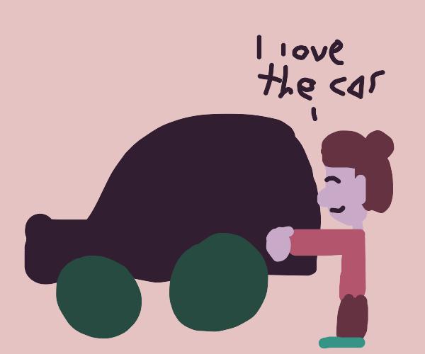 Girl loves her car!