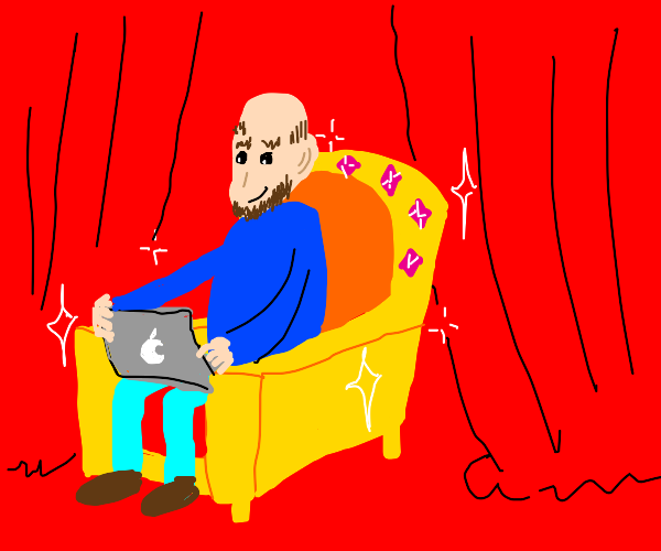 Guy sitting on throne with laptop