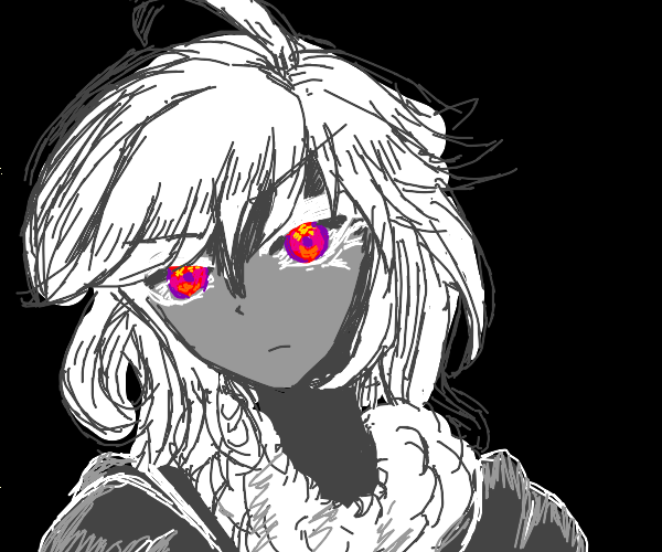 Girl with red eyes stares at you menacingly.