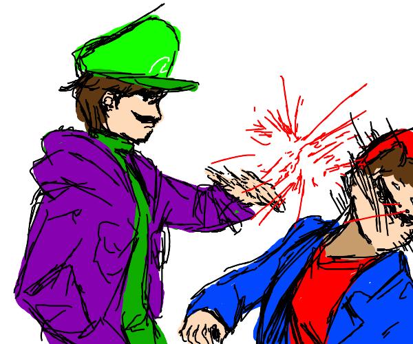 Luigi smacking Mario