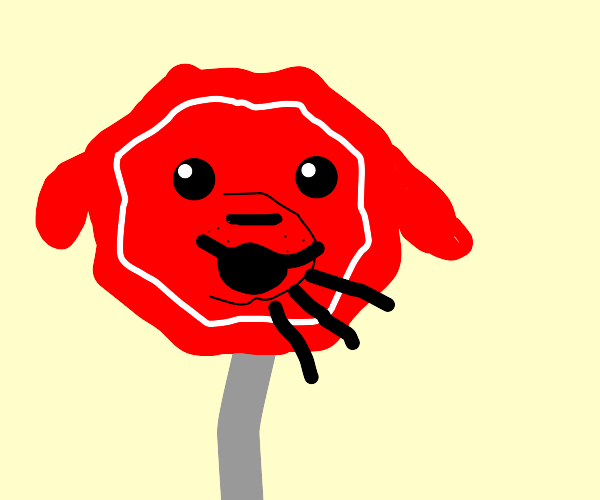 stop sign with a dog face