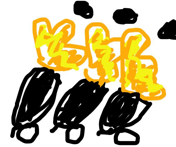Three cannons firing