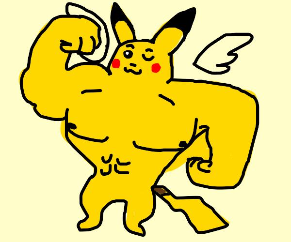Pillar Buff Pikachu with wings posing