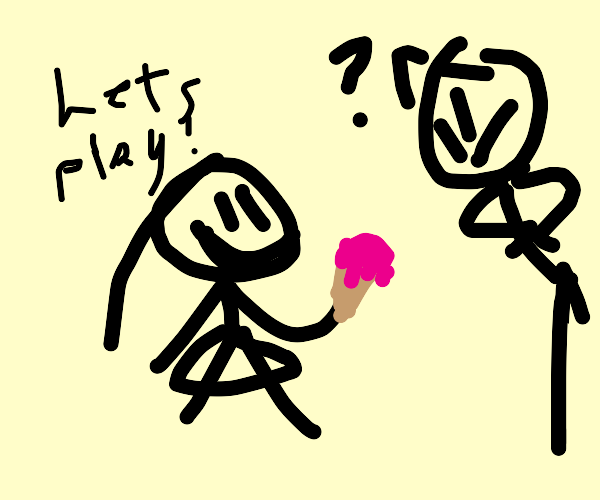 Girl plays with melt strawberry ice cream