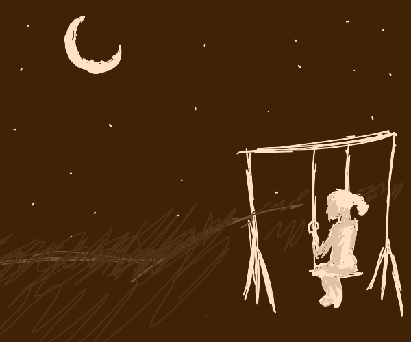Child on a swing at night watching the stars