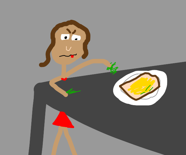 girl sneaks grass into food