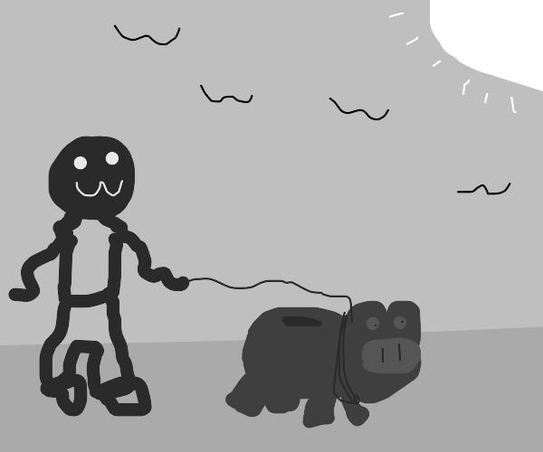 Person takes piggybank on a walk