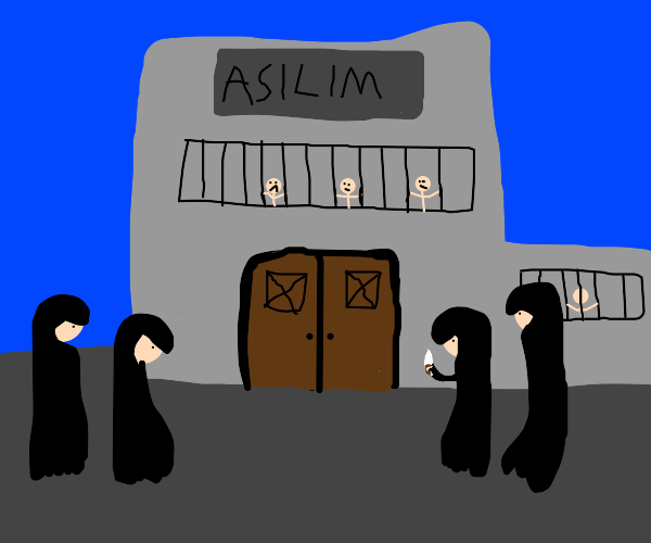 4 Men In  Black Robes Stand Outside An Asylum