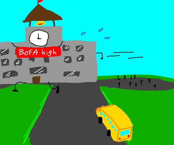 Oh no! The high school ran away!