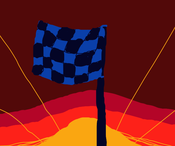checkered flag flying against a sunset