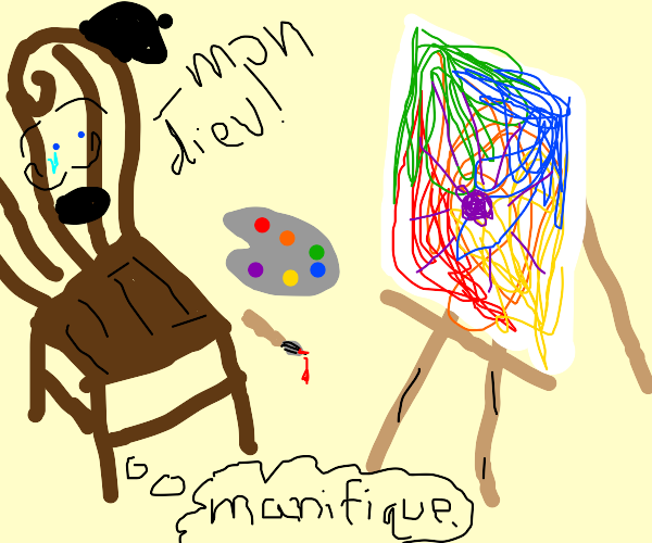 A sentient chair attempting to paint abstract