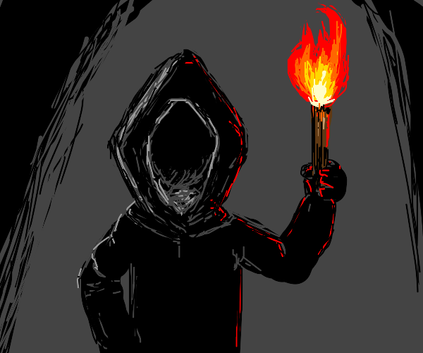 hooded guy /w a torch