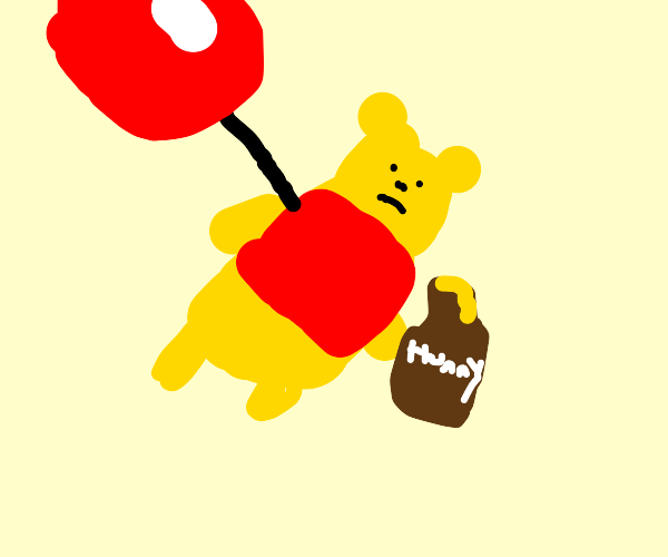 Winnie the Pooh lifted in the air by balloon