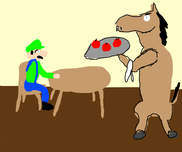 Horse serving confused man apples