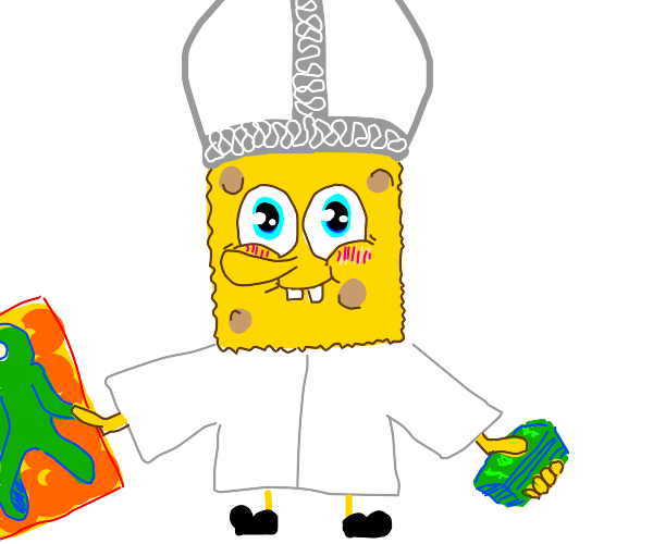 pope spongebob enjoying art and cash