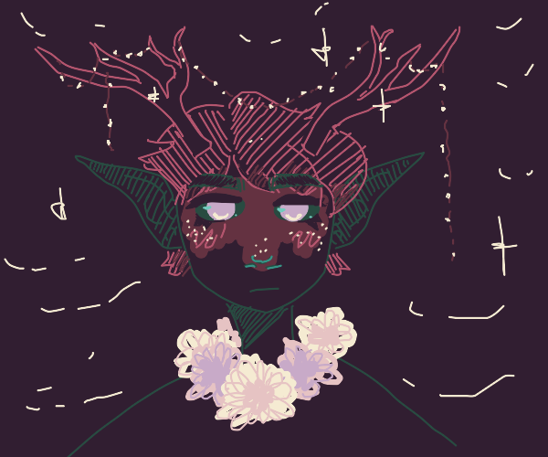 forest spirit boy with antlers and large ears