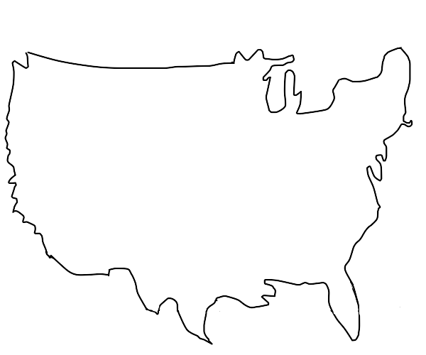 united states but 1 line has an outline