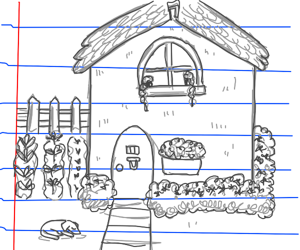 cottage drawn on notebook paper