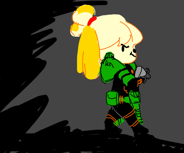Isabelle wearing Doomguy's suit