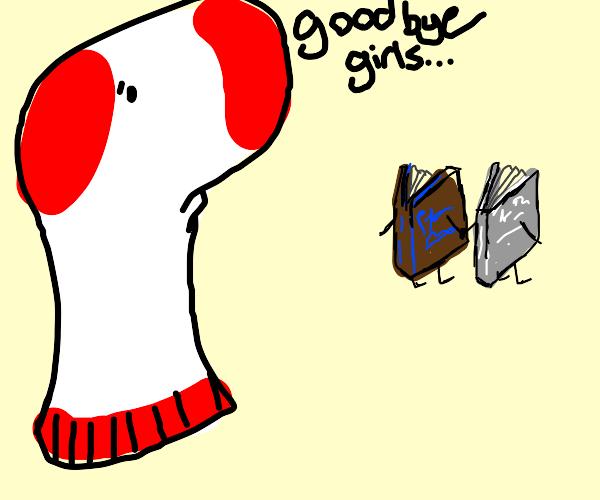 sock says bye girls! tobrownbluewhitegraybook