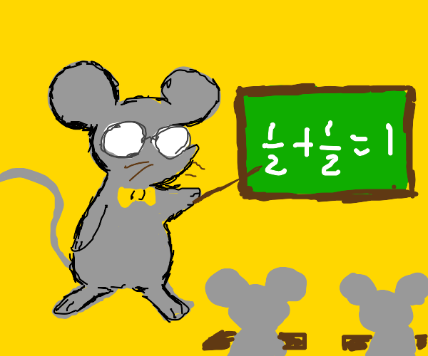 A mouse teacher, explaining what's on a board