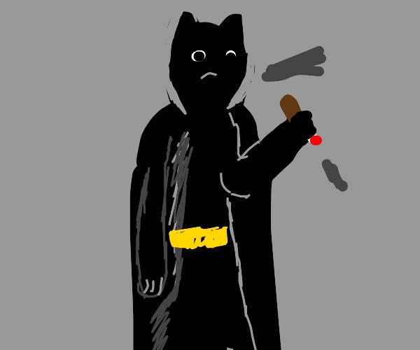Batman having a smoke