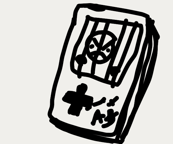 Angry guy imprisoned inside a Gameboy