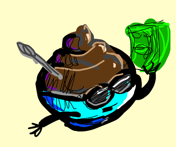 bowl of chocolate flexin w a lot of money