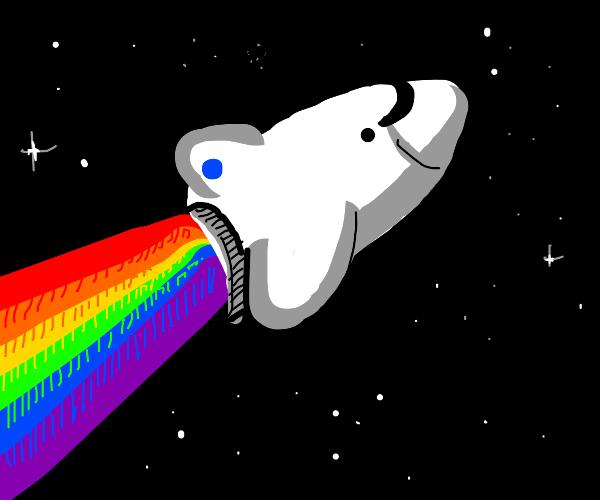 Rocketship powered by rainbows