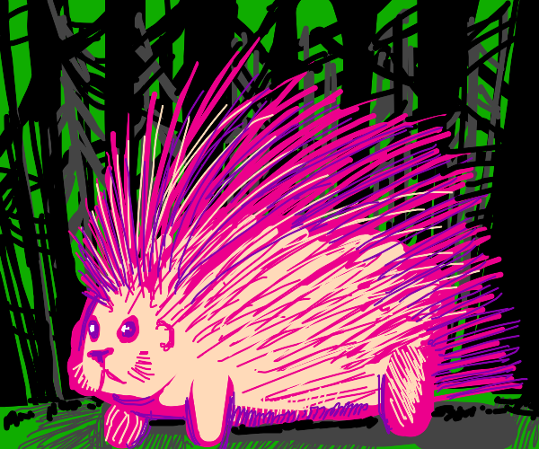 Pink porcupine in forest