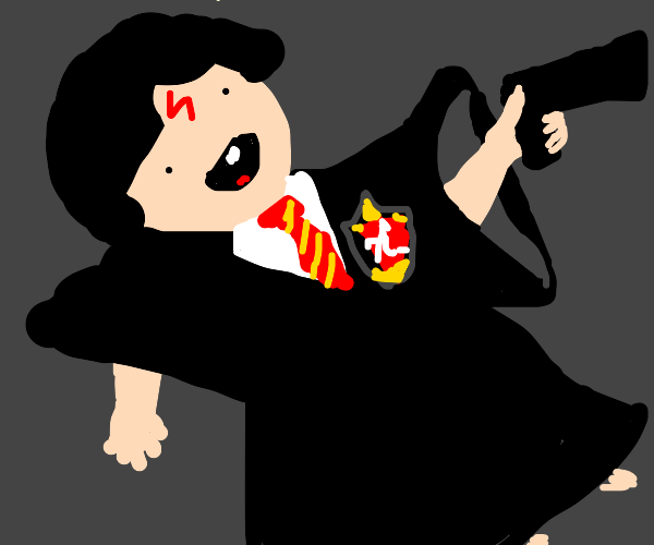 baby harry potter with a gun
