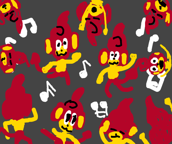 Many Pansears dancing to music