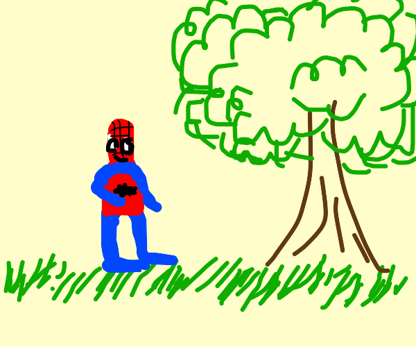 Spiderman taking a casual stroll