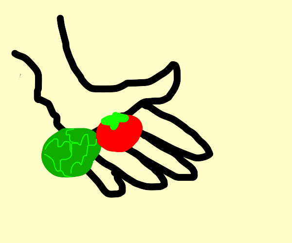 hand gifting lettuce and tomato