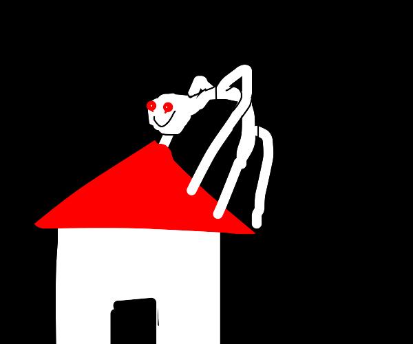 Creepy man crawling on roof