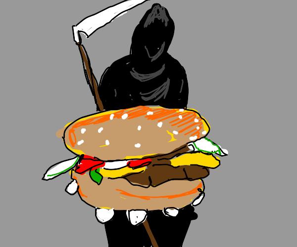 the grim reaper gets the travis scott burger