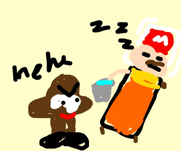 Mario being pranked in his sleep